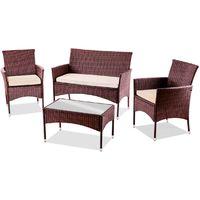 Set de muebles de jardin TRENTO Mesa+Sofa+2 Sillones de ratan Marron -McHaus