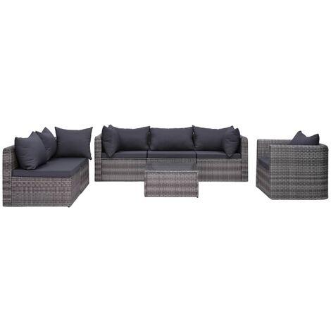 Set de muebles de jardín y cojines 7 pzas ratán sintético gris - Gris