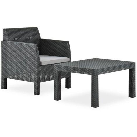 Set de muebles jardín 2 piezas con cojín PP gris antracita - Antracita