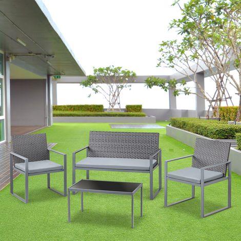 Set de muebles jardin terraza 4pc ratan sofa+ mesita+sillas con cojinu2013Mchaus & Set de muebles jardin terraza 4pc ratan sofa+ mesita+sillas con ...