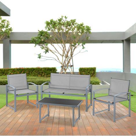 5a465b29 Set de muebles jardin terraza 4pc sofa+ mesita+sillas malla de acero-McHaus