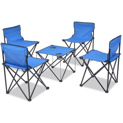Set de muebles plegables de camping 5 piezas azul 45x45x70 cm