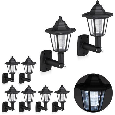 Set de ocho farolas solares LED, Lámparas de exterior, Ahorra energía, Impermeable, Negro