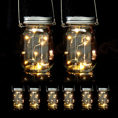 Set de ocho lámparas solares, 8 LEDs por farol, De pie o colgante, Iluminación para jardín, Transparente
