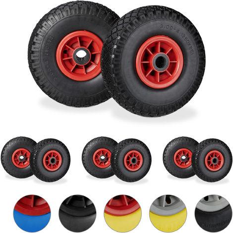 """Set de ocho ruedas de carretilla, Resistente a golpes, 3.00-4"""", Eje 25mm, Hasta 80 kg, 260x85 mm, Negro-rojo"""