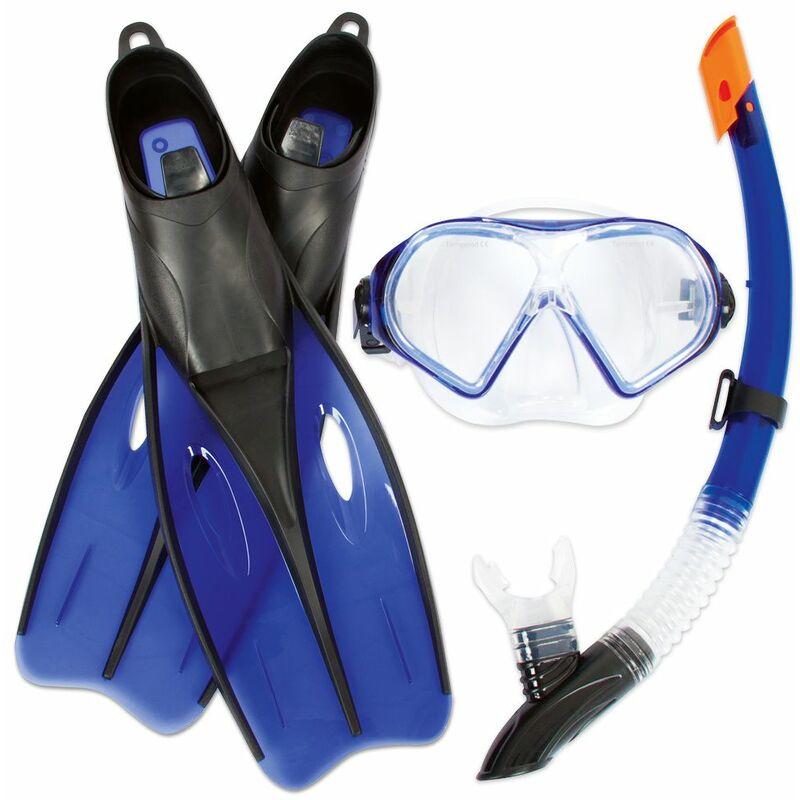 BESTWAY - Kit de plongée Tuba Masque Palmes - Mer plongée Sous marines océan Bleu - masque + tubas + palmes de plongée, 40-42