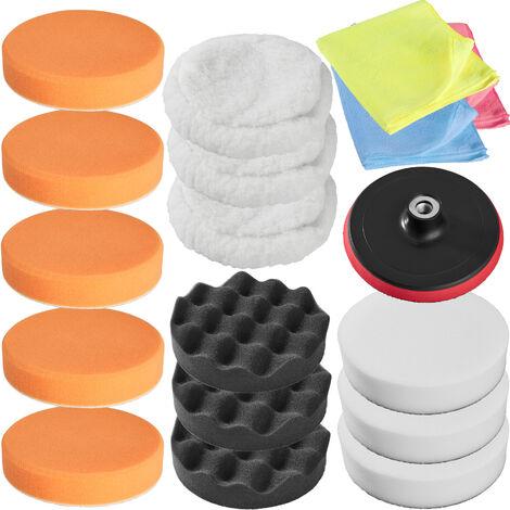 Set de pulido 18 piezas - esponjas para pulidora profesional, set de accesorios para pulir para máquina pulidora, disco atornillable de rotación para pulido - blanco
