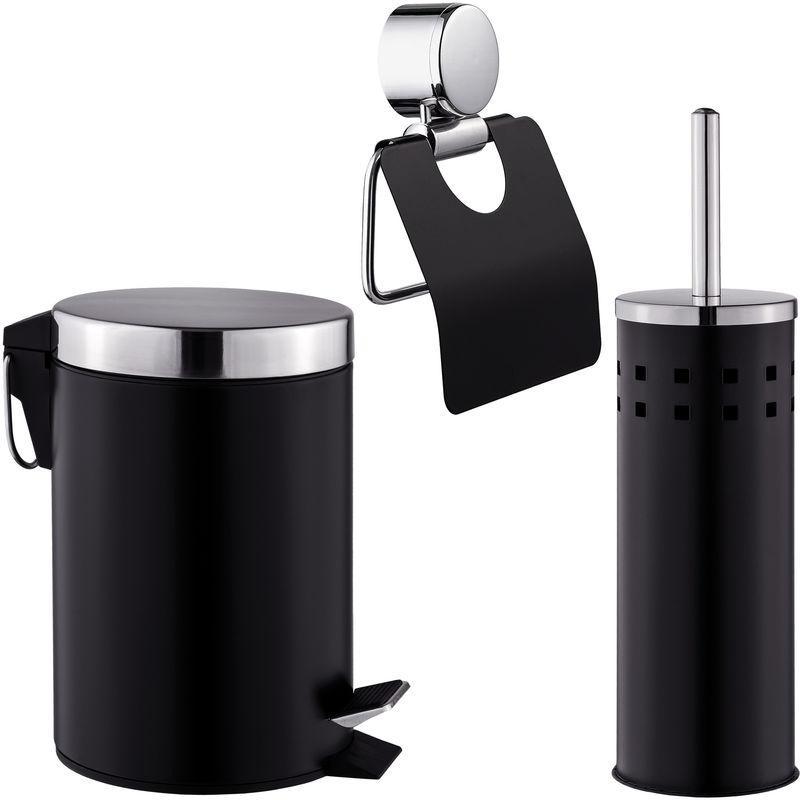 Set De Salle De Bain Toilettes WC Design 3 Pièces Noir: 1 Poubelle, 1  Balayette Brosse, 1 Dérouleur De Papier Toilette   400609