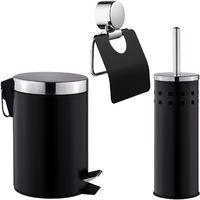 Set de Salle de Bain Toilettes WC Design 3 Pièces Noir: 1 Poubelle, 1 Balayette Brosse, 1 Dérouleur de Papier Toilette