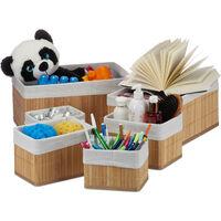 Set de seis cestas de almacenaje, Funda de tela, Bambú, Cuadrado y rectangular, Organizador, Marrón