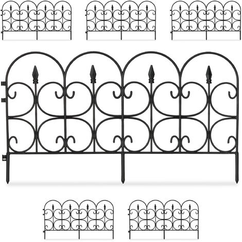 Set de seis vallas decorativas para jardín, Altura de 30 cm, Longitud de 4 m, Negro