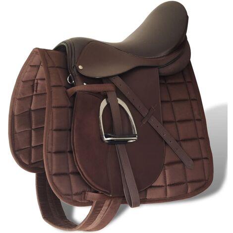 """Set de selle équitation 17,5"""" en cuir véritable 12 cm 5 en 1 brun"""