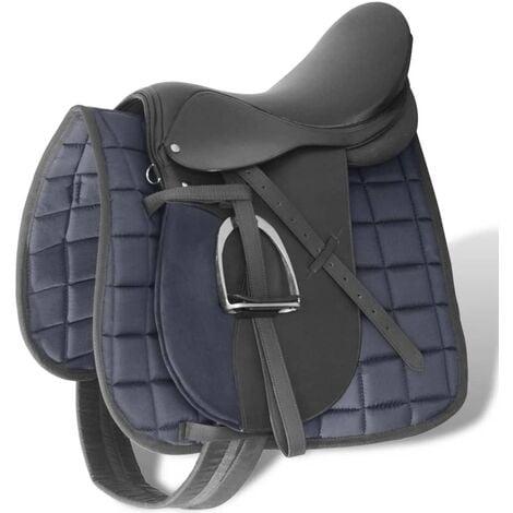 """Set de selle équitation 17,5"""" en cuir véritable 12 cm 5 en 1 noir"""