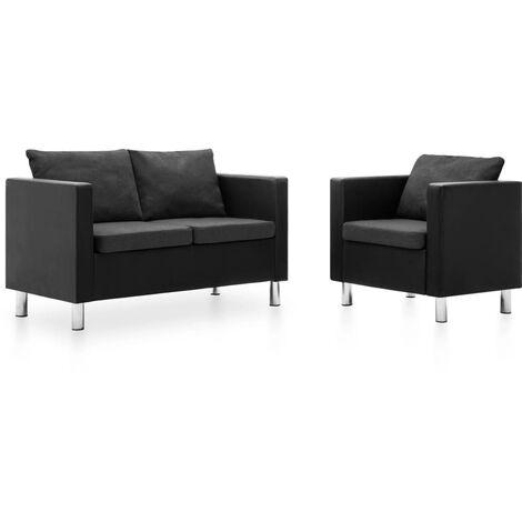 Set de sofás de 2 piezas de cuero sintético negro y gris oscuro