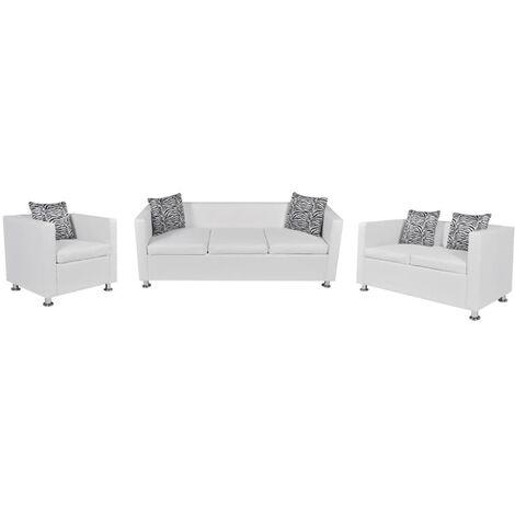 Set de sofás de 2 y 3 plazas y sillón de cuero artificial blanco