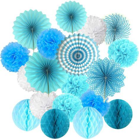 Set de suspension en papier de soie avec éventail de fleurs et boules en nid d'abeille pour anniversaire, fête prénatale, mariage, festival - Bleu 3 g
