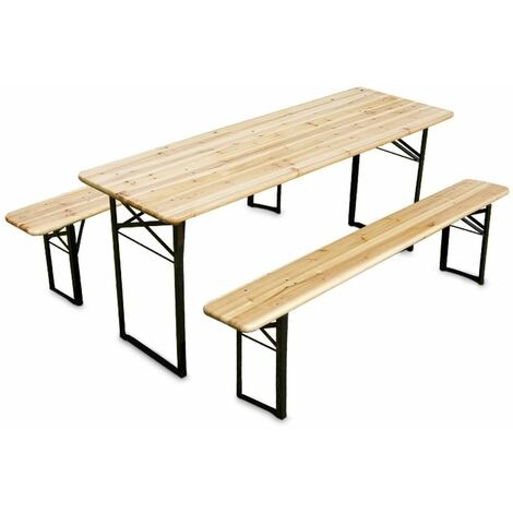 Set de table et bancs en bois