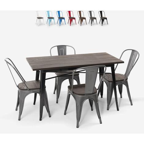 Set de table rectangulaire 120 x 60 avec 4 chaises en acier de style industriel Tolix et bois Ralph