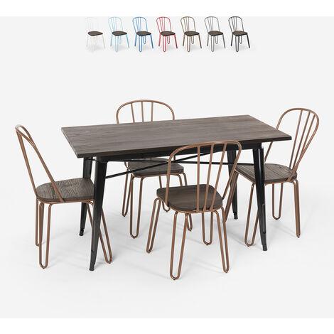 Set de table rectangulaire 120x60 avec 4 chaises acier bois design industriel Tolix Otis