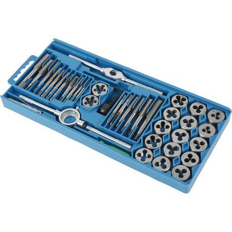 Set de tarauds et filières outils de coupe filetage, Métrique Robinet Et Die Set Filetage en Alliage d'acier Outil (40 PCS) - Bleu-argent