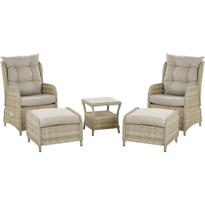 Set de terrasse table et 2 fauteuils en rotin beige PONZA
