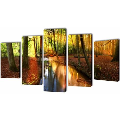 Set decorativo de lienzos para la pared modelo bosque, 200 x 100 cm