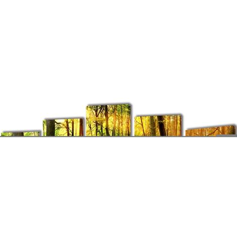 Set decorativo de lienzos para la pared modelo bosque, 200 x 100 cm - Multicolor