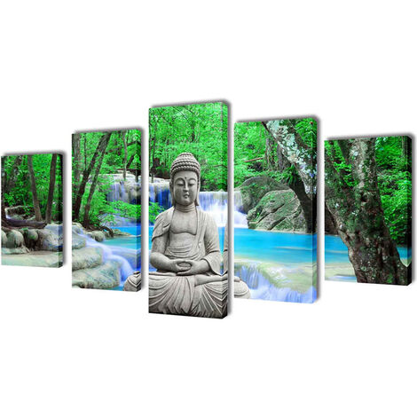 Set decorativo de lienzos para la pared modelo Buda, 200 x 100 cm - Multicolor