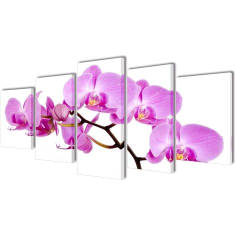 Set decorativo de lienzos para la pared modelo orquídea, 100 x 50 cm - Multicolor