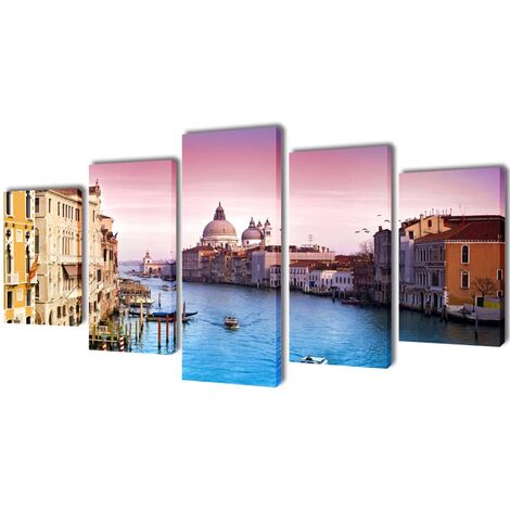 Set decorativo de lienzos para la pared modelo Venecia, 200 x 100 cm - Multicolor