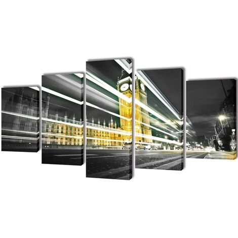 Set decorativo de lienzos para pared Big Ben de Londres 100 x 50 cm - Multicolor
