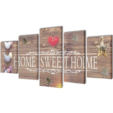 Set decorativo de lienzos para pared Home sweet home 100x50cm