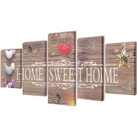 Set decorativo de lienzos para pared Home sweet home 200x100cm