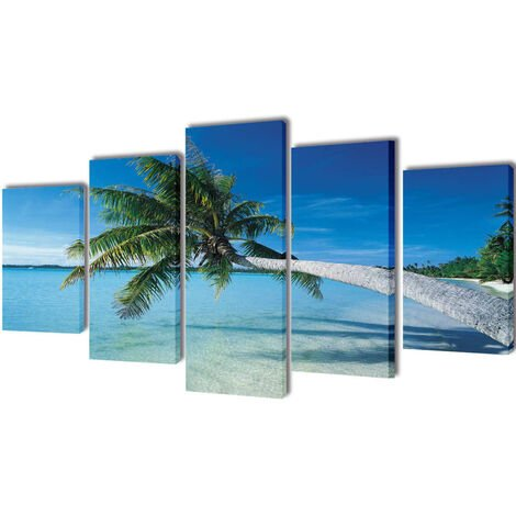 Set decorativo de lienzos para pared playa con palmera 100 x 50 cm - Multicolor