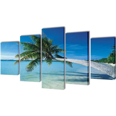 Set decorativo de lienzos para pared playa con palmera 200 x 100 cm - Multicolor
