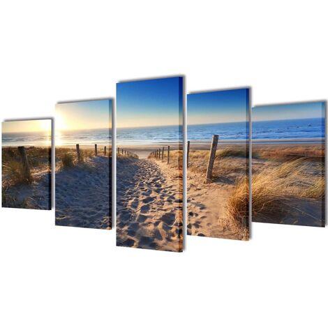 Set decorativo de lienzos para pared playa y arena 100 x 50 cm