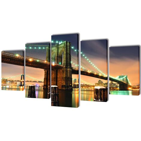Set decorativo de lienzos para pared puente de Brooklyn 100 x 50 cm - Multicolor