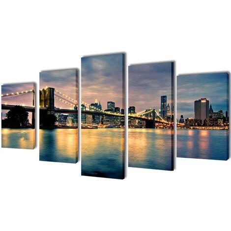 Set decorativo de lienzos para pared río de Brooklyn 100 x 50 cm