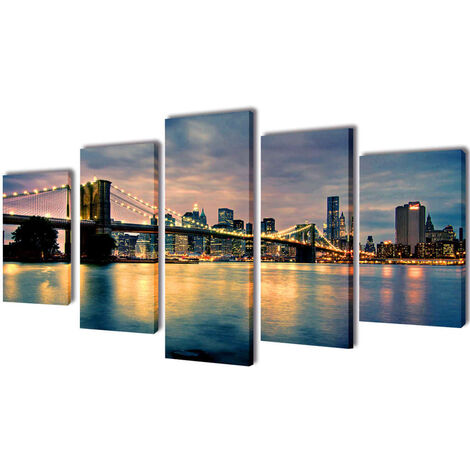 Set decorativo de lienzos para pared río de Brooklyn 200 x 100 cm - Multicolor