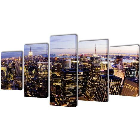 Set decorativo de lienzos pared Nueva York panorámica 100x50cm - Multicolor