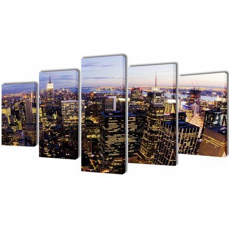 Set decorativo de lienzos pared Nueva York panorámica 200x100cm HAXD08796