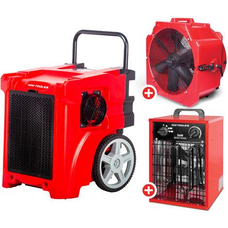 Set déshumidificateur BDE50 + Ventilateur MV500PP + Chauffage 3.3kW MW-Tools BDE50SETAH