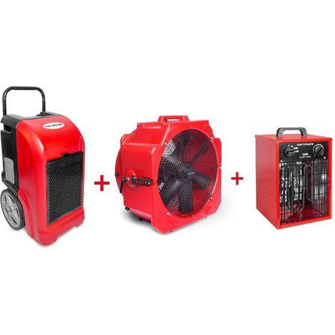 Set déshumidificateur BDE70 + Ventilateur + Chauffage MW-Tools BDE70SETAH