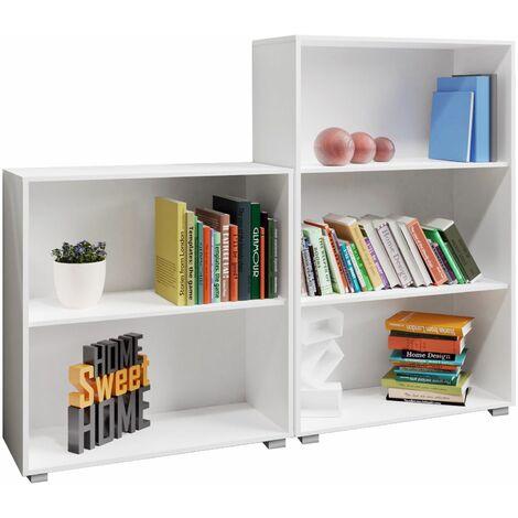 Set d'étagères 2-3 compartiments bibliothèque Vela meuble de rangement polyvalent blanc profondeur 31 cm