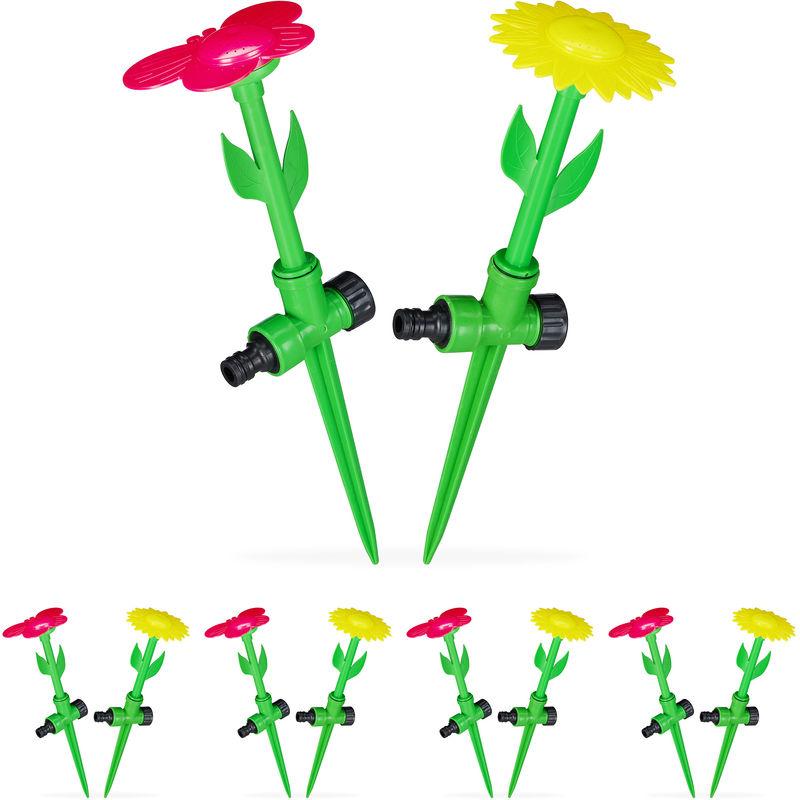Relaxdays - Set di 10 Irrigatori da Giardino a Forma di Fiore, con Paletto per il Fissaggio, HxD: 34x10 cm, Rosso/Giallo