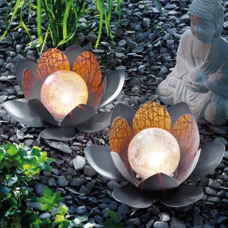 "main image of ""Set di 2 fiori di loto solari. Lampada solare da giardino bianca calda, esotec 102087"""