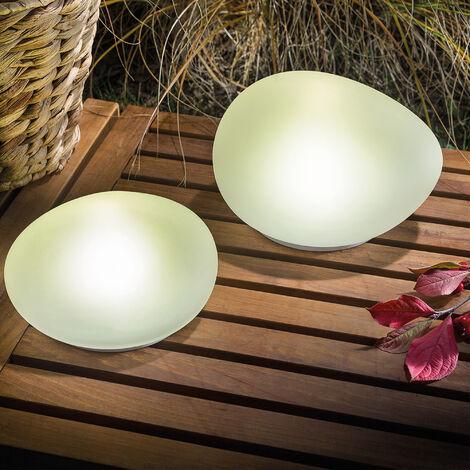 "main image of ""Set di 2 lampade solari in pietra. Lampada solare. Lampada in vetro. Lampada da giardino a LED, esotec 102084"""