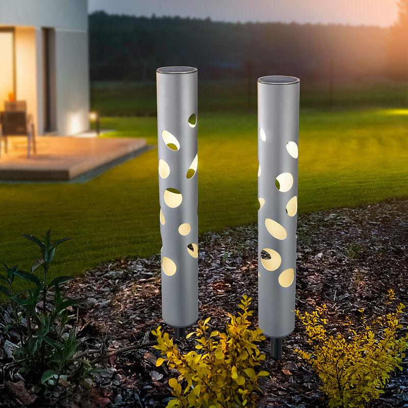 Set di 2 moderne lampade solari da esterno e giardino, presa da giardino, esotec 102132