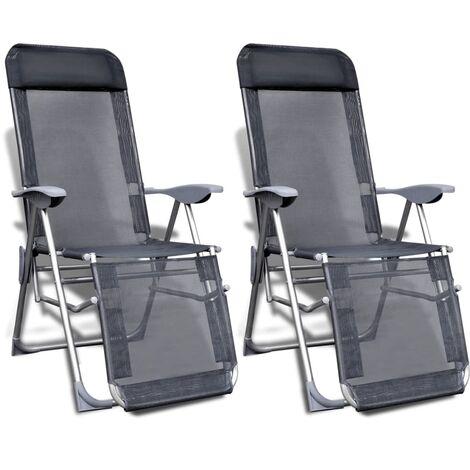 Sedie Da Campeggio Pieghevoli.Set Di 2 Sedie Da Campeggio Regolabili Pieghevoli Con Poggiapiedi In