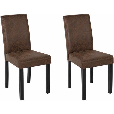 Set di 2 sedie da pranzo in finta pelle marrone vintage